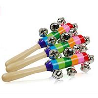 baby cribs wood - Hot Sale Baby Kids Rainbow Toy Pram Crib Handle Wooden Activity Handbell Stick Shaker Rattle Free amp Drop Shipping
