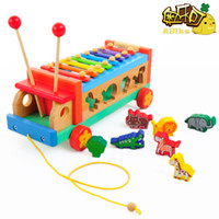 baby tractor toys - Wooden animal knock musical car multicolour blocks hand knocking piano tractors baby educational toys