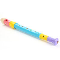 Wholesale Colorful Baby Wooden Flute Musical Instrument Music Developmental Children Toys Freeshipping