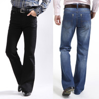 bell bottomed trousers - Male boot cut jeans semi flared bell bottom black spring and autumn the body trousers