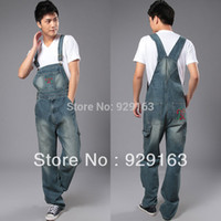 overalls for men - denim bib pants Mens casual straight mens one piece jeans with suspenders plus size denim overalls jean jumpsuit for men
