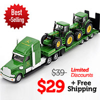 Wholesale Siku Low Loader With John Deere Tractors flatbed trailer truck alloy metal model car toy collection