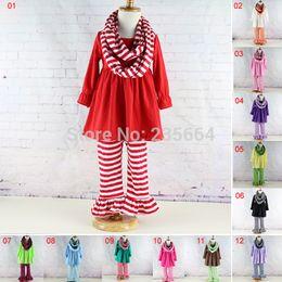 Wholesale-New Kids striped 3pcs long sleeve ruffled pants sets Ruffle dress top & pants clothing sets autumn winter baby girl pants sets