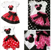 Wholesale Summer New Children Girl s PC Sets Skirt Suit Minnie Mouse baby Clothing sets dots skirt dots pants girls clothes Retail
