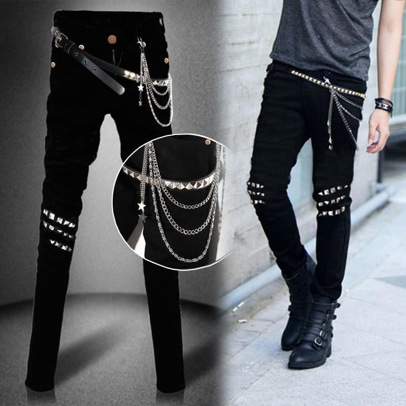 2017 Wholesale Punk Denim Male Cool Black Jeans Pants Trend Models