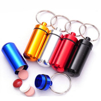 bamboo keychain - small metal container aluminum pill box holder keychain medicine packing bottle with