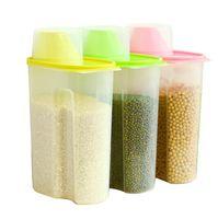 Bamboo bean container - Plasti Storage Jar Organization Plastic Kitchen Storage Box Beans Sugar Container Jar With Spout Jars Set Organizer pc