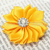 Wholesale Mixed Cute DIY Satin Ribbon Flower With Rhinestone Crystal Appliques Fabric Flower For Headband