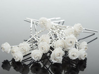 Cheap Wholesale-New Fashion 20Pcs Wedding Bridal Crystal White Rose Flower Hairpins U Shape Hair Pins Hair Accessories for Women Jewelry Bulks