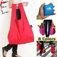 bamboo shopping bags - Japan BAGGU Color folding big Shopping bag x35 cm solid T Polyester torage hand bag Free ship