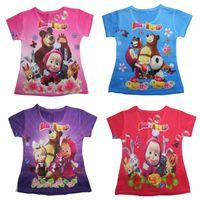 Wholesale Hot Summer Fashion Cartoon Masha And Bear T Shirts for Girls European amp American Casual Short Sleeve Kids Clothes Retail