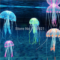 Wholesale Tank Ornament Swim Glowing Effect Aquarium Artificial Jellyfish Ornament Fish Tank Decoration Color Random