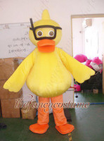 Unisex anime characters with glasses - New adult size yellow duck with glasses mascot costume character costume party outfit Fancy costume
