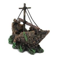 aquarium shipwreck - Fish Tank Decoration Cave Sailing Boat Shipwreck Aquarium Sunk Antique Ship