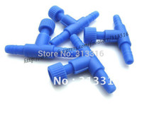Wholesale Free shopping clear straight connectors Blue Plastic Air Control Valve for Aquarium fish tank Airline Connector