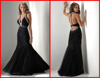Mermaid V Neck Sleeveless WOW!!!Sexy Deep V-neck With Beading Evening Dresses Organze Mermaid Halter FoldCocktail Prom dresses