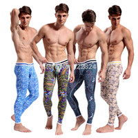 Wholesale New men cotton thin print pattern elastic thermal underwear pants man body sexy attractive gym exercise leggings pro long johns