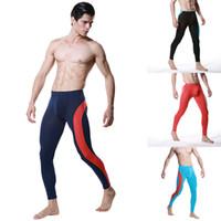Cheap Wholesale-Fashion Men Modal Long Johns Pants Low Rise Pouch Trousers Thermal Underwear M L XL Freeshipping
