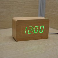 antique bamboo table - New Wooden Clocks LED Digital Alarm Table Clocks Led Display Voice Sound controlled Desk Clocks