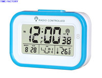 Cheap Wholesale-Digital Wireless Blue Backlight Weather Station Radio Controlled Clock With Temperature (DCF)