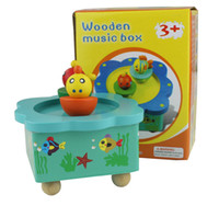 baby gifts music boxes - colorful puzzle wooden toy baby gift rotating animal music box is best selling toys for children
