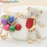 bear sparkle - New Novelty Fashion Sparkle Pendant Rhinestone Ball Animal Bear Keychain Keyring Trinket Gift Souvenir Decoration