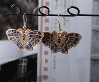 Wholesale Latest Butterfly Earring Lady Fashion Earrings High quality China Cloisonne Alloy Earring Free