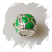 Wholesale 25pcs Rhinestones Enamel Flower Alloy Metal Beads With Silver Plated Fit Charm Bracelet