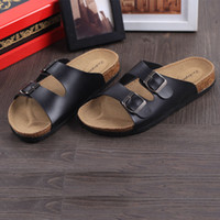 Wholesale Cork Male sandals double buckles babouche birkenstock sandals low heels flip flops men and women lovers slipper shoes