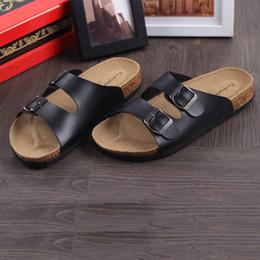Wholesale Cork Male sandals double buckles babouche birkenstock sandals low heels flip flops men and women lovers slipper shoes
