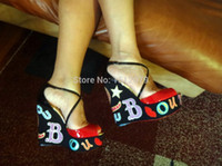 Cheap Wholesale-Christianity shoes FREE SHIPPING NIB BRAND LOUBI ZEPPA Crisscross Wedge Platform Red Bottom Heels Sandals