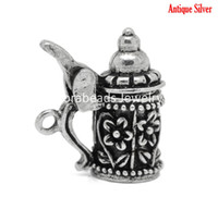 Wholesale Antique Silver Flower Pattern German Beer Stein Charm Pendants mm x mm B19703