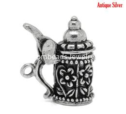 Wholesale Antique Silver Flower Pattern German Beer Stein Charm Pendants mm x mm B19703