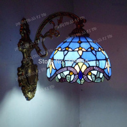 Wholesale-Fashion Tiffany Wall Lamp European Baroque Style Aisle Mirror Stained Glass Lighting E27 110-240V