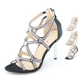 Wholesale Silver Strappy Wedding High Heels - Wholesale-womens strappy satin silver black thin high heels stilettos shoes for wedding prom crystal zip elastic anckle ladies sandals