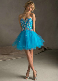 Wholesale Purple Blue Tulle Corset Back Sweetheart Sparkly Homecoming Dress New Arrival Short Prom Dresses Ball Gown