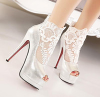ballet flat women s - elegant bridal s lace wedding shoes women summer boots peep toe stiletto heels size to
