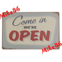 aa cafes - Mike86 Come in We re OPEN Tin sign Art wall decoration House Cafe Bar Vintage Metal signs AA Mix order CM