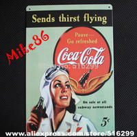 Cheap Wholesale-[ Mike86 ] Drink Metal Tin Sign Sends Thirst Flying Art wall decor House Vintage Bar signs AA-50 20*30 CM