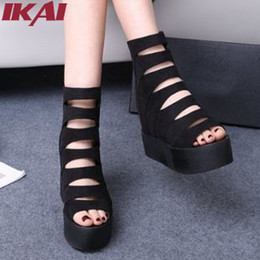 Wholesale XWF249 New Fashion Women Platform Sandals Hollow Breathable Casual Summer Shoes Women High Top Thick Heels Women Sandals