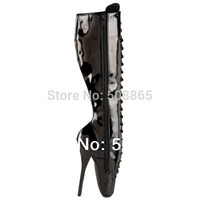 Wholesale women s summer boots CM Extreme High Heels black light leather Stiletto lace up knee High BDSM ballet boots size