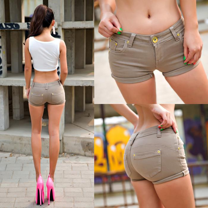 Wholesale-women's Sexy Roll-up Hem Khaki Color Denim Cotton Shorts ...