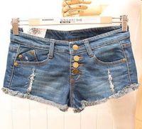 Cheap Wholesale-Free shipping new 2015 hot sale women fashion ripped denim shorts low waist female vintage short pants zipper short jeans button