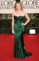 Wholesale Fashion Deep Green Celebrity Dresses Satin Mermaid Pleated Floor length Oscar Emmy Awards dresses
