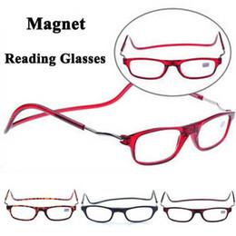 Wholesale magnetic reading glasses folding reading eyewear hanging connecting presbyopic glasses