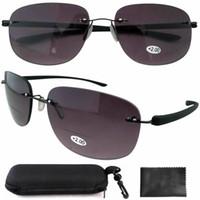 bifocal reader sunglasses - SR14001 Gray New Lightweight Aviator Readers Rimless Bifocal Sunglasses W case