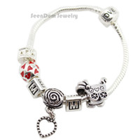 """Cheap Wholesale-""""I Love You MOM """" 925 Silver Dangle Heart Pendant Pulseras Baby Stroller Charms Love Clasp Bracelet Mother's Day"""