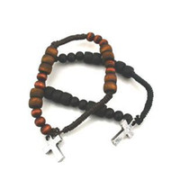 rosary for man - Tibetan Jewelry Brown Black Wood Rosary Bracelets With Cross For Women And Men