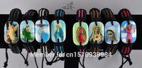 angels icons - MIX Color Holy Icon SAINTS JESUS Angel Virgin Mary Leather ID Bracelets Fashion Catholic Christian Religious Jewelry