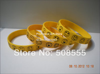 Wholesale Printed Smile Face Wristband Smile Logo on the Wristband X12X2MM Promotion Gift Free Shipped